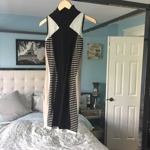 EUC Black Beige White River Island Wiggle Dress 8